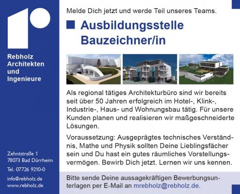 Ausbildungsstelle frei: Bauzeichner/In - Rebholz Architekten, Bad Dürrheim