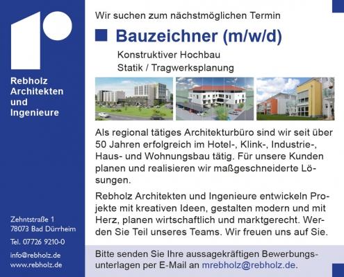 Stellenanzeige Bauzeichner/In gesucht - Rebholz Architekten, Bad Dürrheim