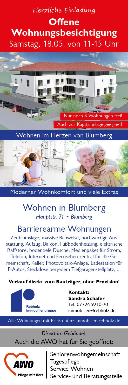 Offene Wohnungsbesichtigung, Sa. 18.05.2019, Blumberg, Hauptstr. 71