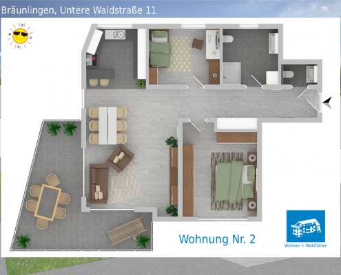 2D Grundriss Wohnung 02 - Mehrfamilienhaus in Bräunlingen, Untere Waldstraße 11