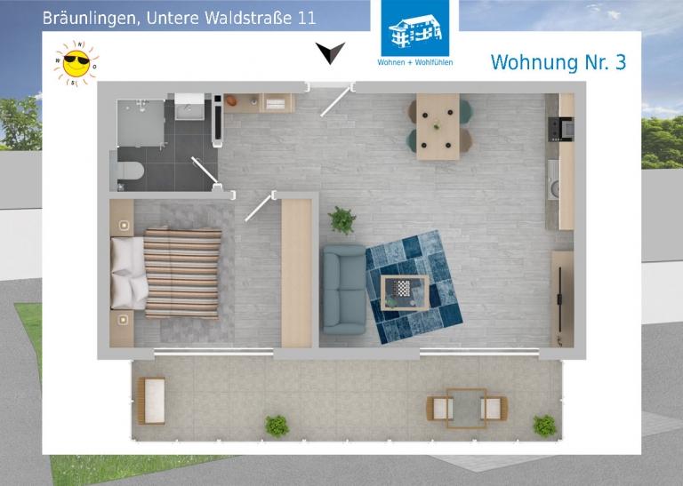 2D Grundriss Wohnung 03 - Mehrfamilienhaus in Bräunlingen, Untere Waldstraße 11
