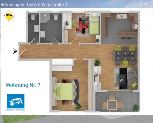 2D Grundriss Wohnung 07 - Mehrfamilienhaus in Bräunlingen, Untere Waldstraße 11