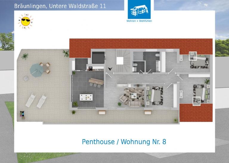 2D Grundriss Wohnung 08 - Mehrfamilienhaus in Bräunlingen, Untere Waldstraße 11