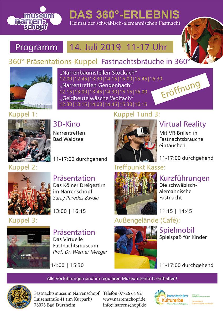 Narrenschopf Bad Dürrheim - Programm zur Eröffnung der neuen 360°-Präsentationskuppel