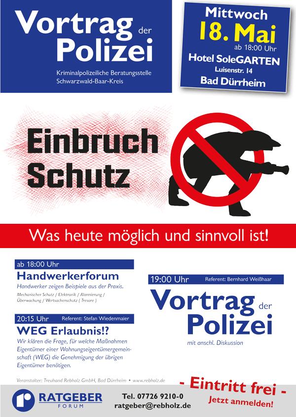 Plakat Einbruchschutz - Rebholz Ratgeber-Forum