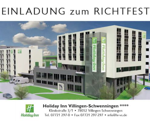 Richtfest Holiday Inn Hotel Einladungskarte Titel