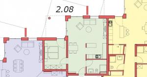 Grundriss Wohnung 2.08, Sattelweg, Bad Dürrheim