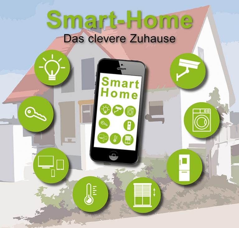 Smart-Home Grafik mit Symbolen