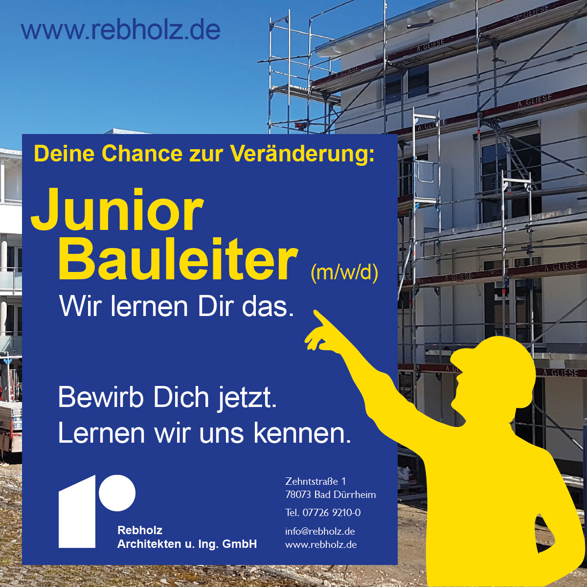 Stellenanzeige Junior Bauleiter gesucht – Rebholz Architekten u. Ing. GmbH, Bad Dürrheim