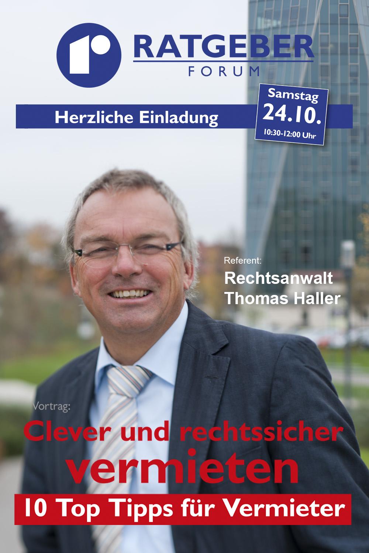 Rechtsanwalt Thomas Haller, Referent Rebholz Ratgeber-Forum