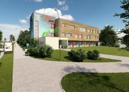 Neubau heilpädagogische Kindertagesstätte, AWO Ortsverein Villingen-Schwenningen e.V. Visualisierung Außenansicht